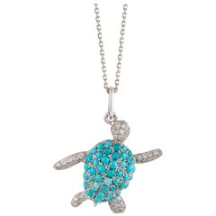 """Contemporary Turquoise and Diamond White Gold """"Turtle"""" Pendant Necklace"""