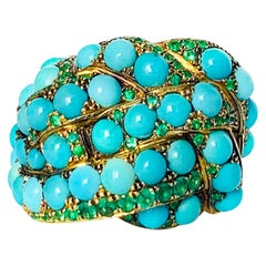 Contemporary Turquoise and Emerald Cocktail Ring in Yellow Gold