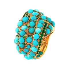 Contemporary Turquoise and Emerald Yellow Gold Cocktail Ring