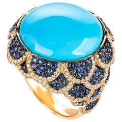 Contemporary Turquoise Cocktail Ring in Yellow Gold, Diamonds and Sapphires