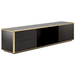 Contemporary Tv Sideboard by Fabio Arcaini, Lacquered Velvet