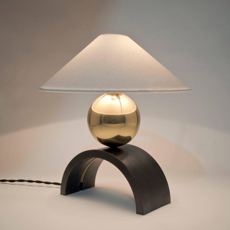 Patinated Contemporary U Lamp with Rolled Steel, Solid Glass and Linen Shade