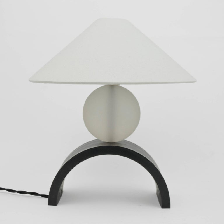 Contemporary U Lamp with Rolled Steel, Solid Glass and Linen Shade 2