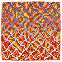 Contemporary Unframed Abstract Revok Signed Untitled III Orange 2014 Screenprint