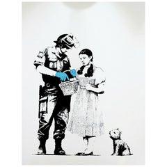 Contemporary Unframed Banksy Stop Search Screenprint Stamped 79/500 Graffiti Art