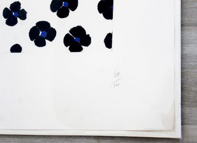 Paper Contemporary Unframed Signed Donald Sultan Aquatint Black Blue Flowers, 2008