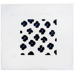 Contemporary Unframed Signed Donald Sultan Aquatint Black Blue Flowers, 2008