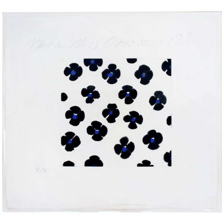 Contemporary Unframed Signed Donald Sultan Aquatint Black Blue Flowers, 2008