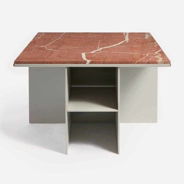 Modern Contemporary Uniform Aluminium Coffee Table in Silk Grey and Pink Red Marble For Sale