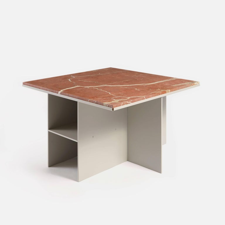 Indian Contemporary Uniform Aluminium Coffee Table in Silk Grey and Pink Red Marble For Sale