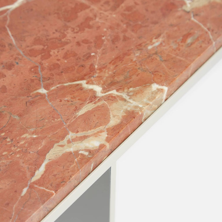 Inlay Contemporary Uniform Aluminium Coffee Table in Silk Grey and Pink Red Marble For Sale