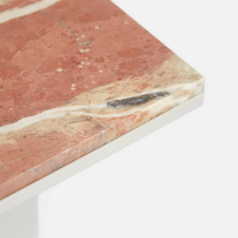 Contemporary Uniform Aluminium Coffee Table in Silk Grey and Pink Red Marble In New Condition For Sale In London, GB