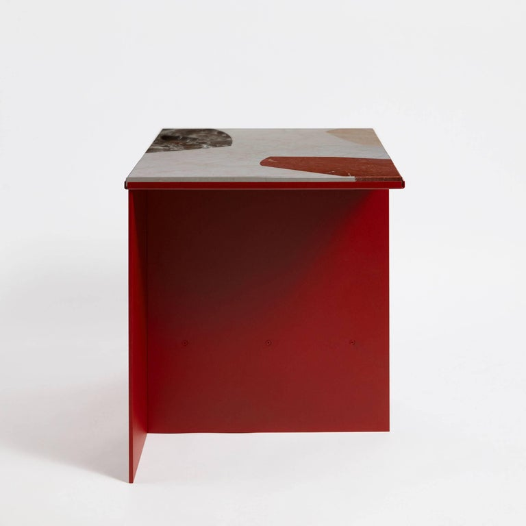 Modern Contemporary Uniform Aluminium Side Table Deep Rust Red and Cut-Out Marble Inlay For Sale