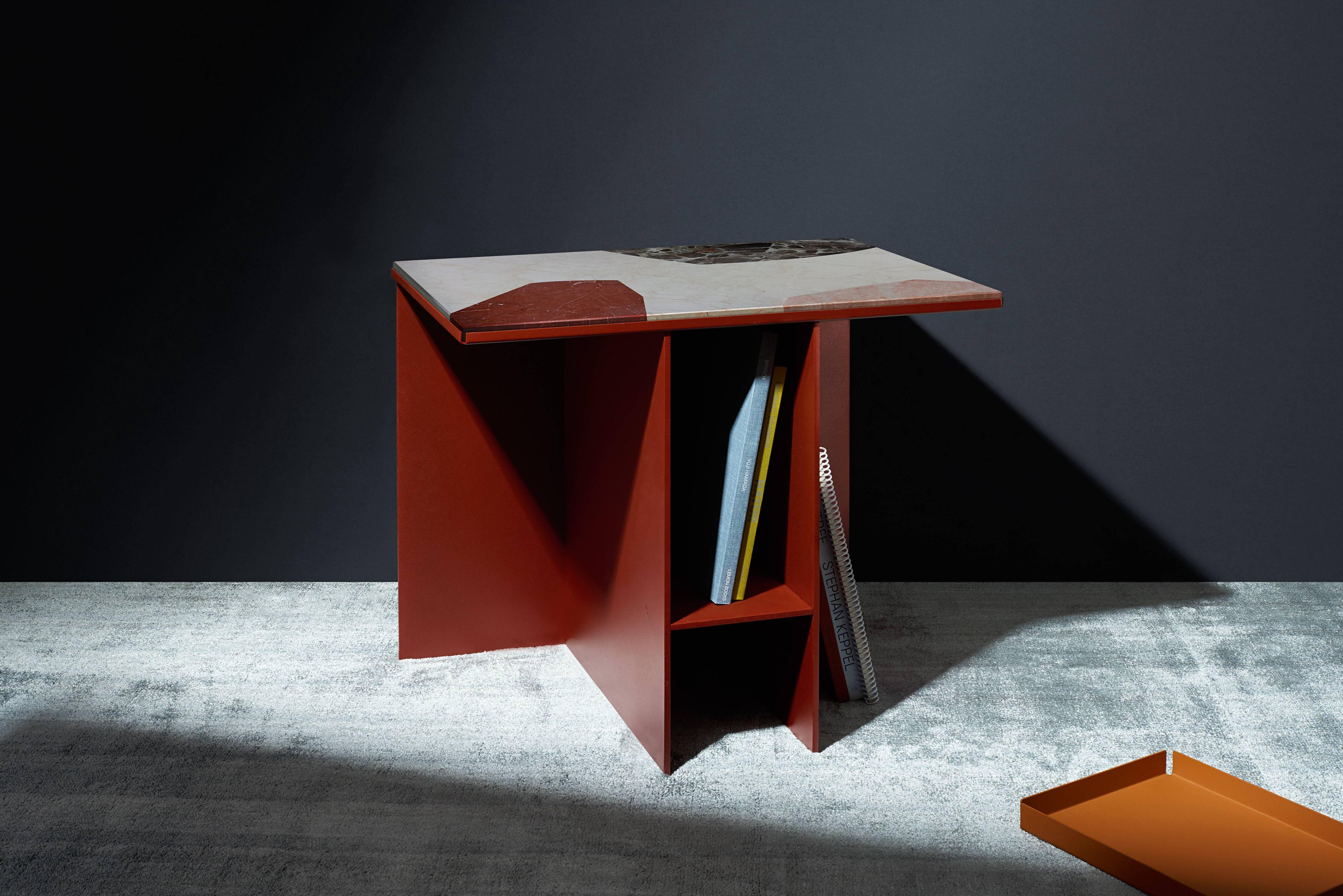 Contemporary Uniform Aluminium Side Table Deep Rust Red And Cut Out Marble Inlay
