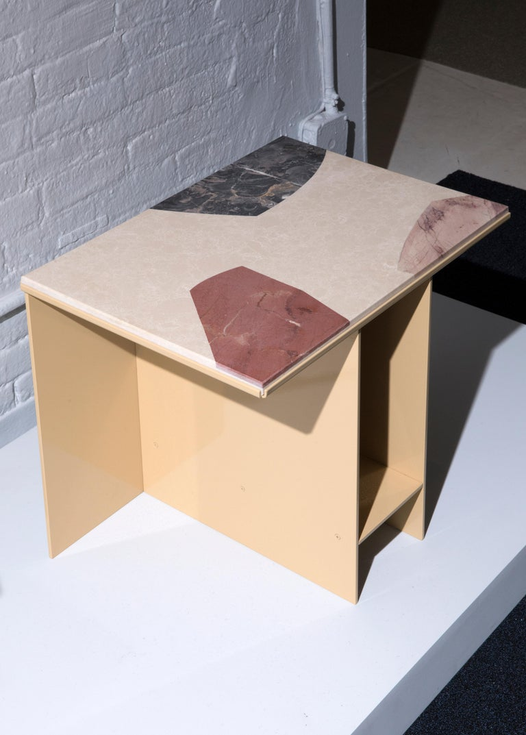 Contemporary Uniform Aluminium Side Table Sand Yellow and Cut-Out Marble Inlay In New Condition For Sale In London, GB