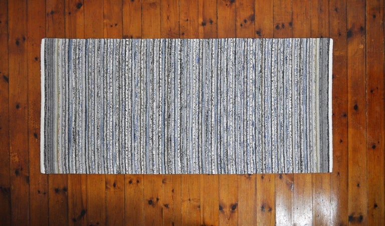 Unique Danish rug in recycled colored materials. Handwoven in the traditions of Scandinavian rugs. High quality craftsmanship by MB handwoven rugs. Can be washed without loosing color or shape.
