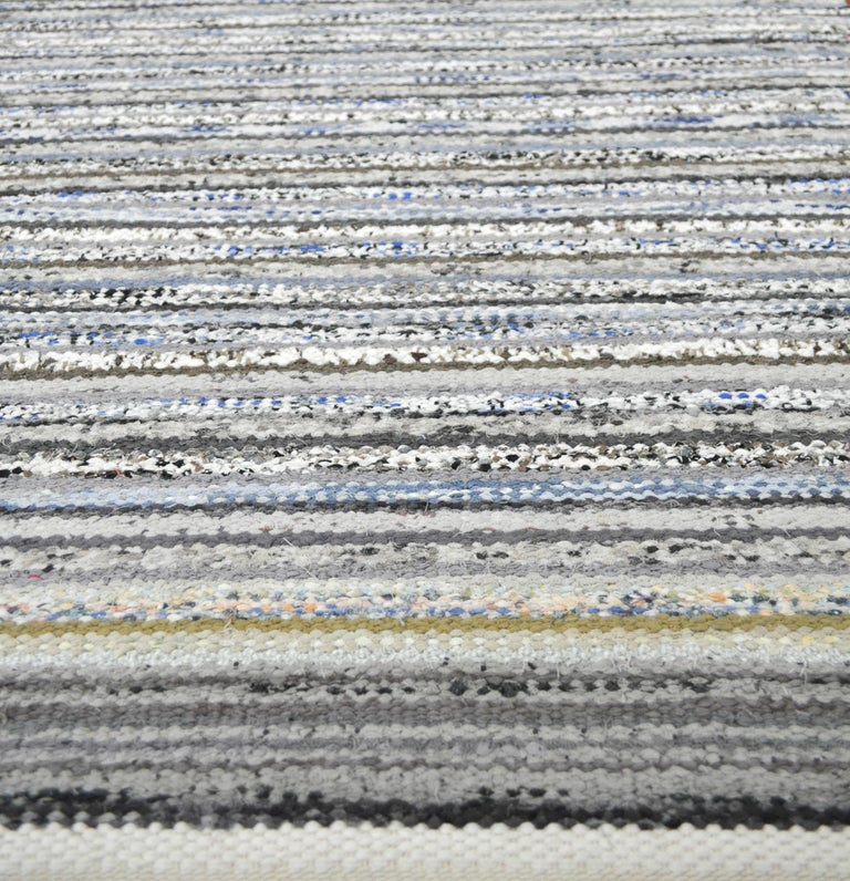 Contemporary Unique Handwoven Danish Rug in Recycled Materials For Sale 2