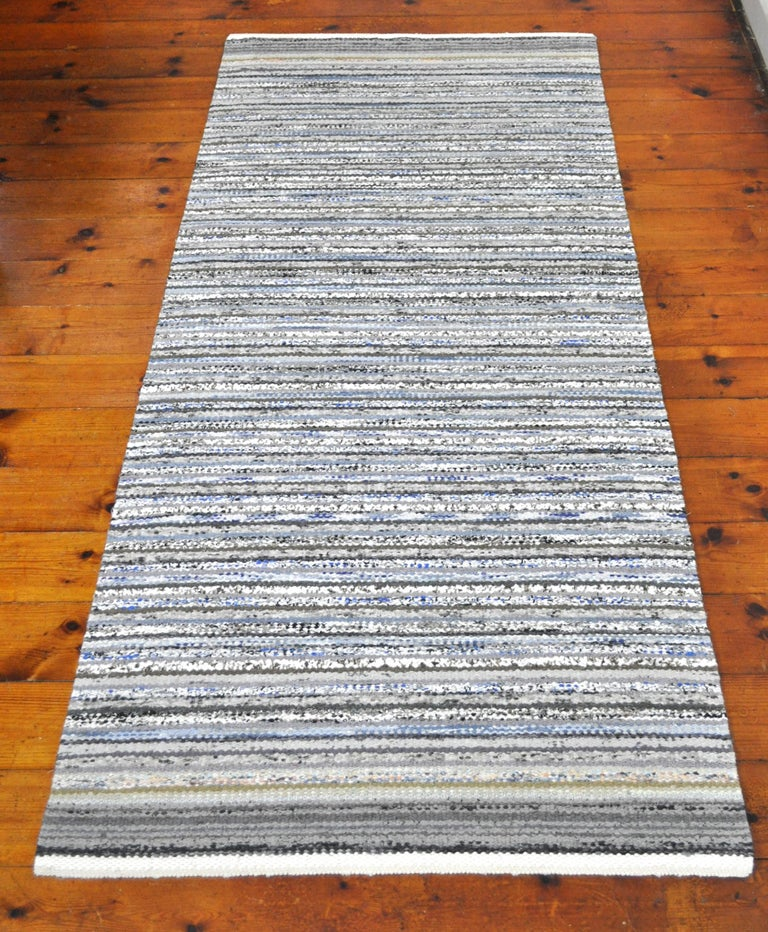 Contemporary Unique Handwoven Danish Rug in Recycled Materials For Sale 3