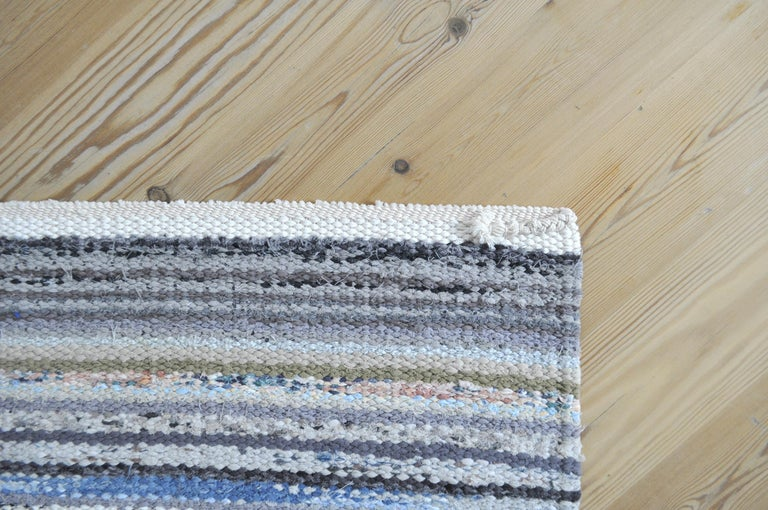 Contemporary Unique Handwoven Danish Rug in Recycled Materials For Sale 5