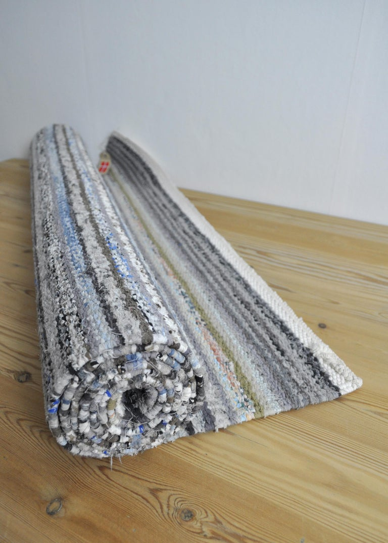 Contemporary Unique Handwoven Danish Rug in Recycled Materials For Sale 6