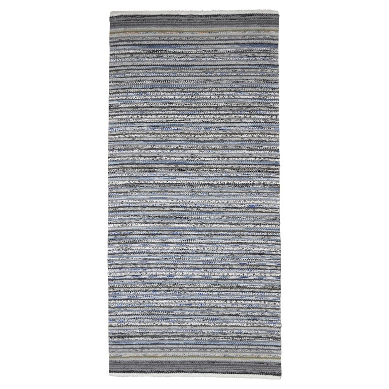 Contemporary Unique Handwoven Danish Rug in Recycled Materials For Sale