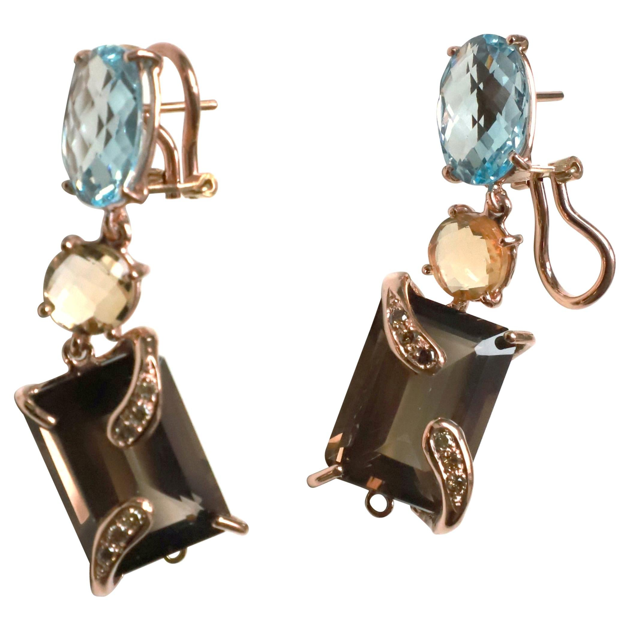 Contemporary Unique Piece Brown Diamonds Topaz Citrine Dangle Rose Gold Earrings