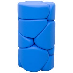 Contemporary Unique Puffy Brick Column Stool / Side Table by Soft Baroque, Blue