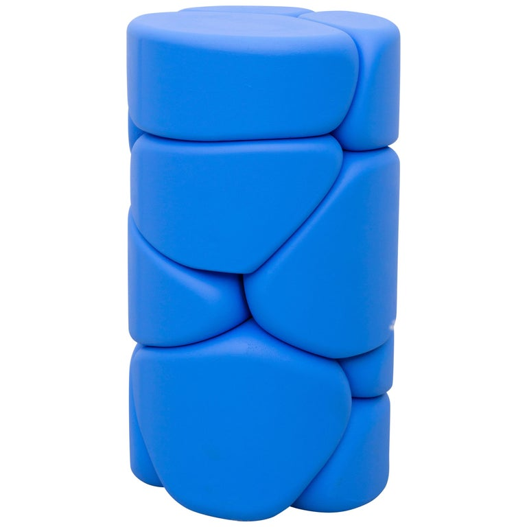 Contemporary Unique Puffy Brick Column Stool / Side Table by Soft Baroque, Blue For Sale