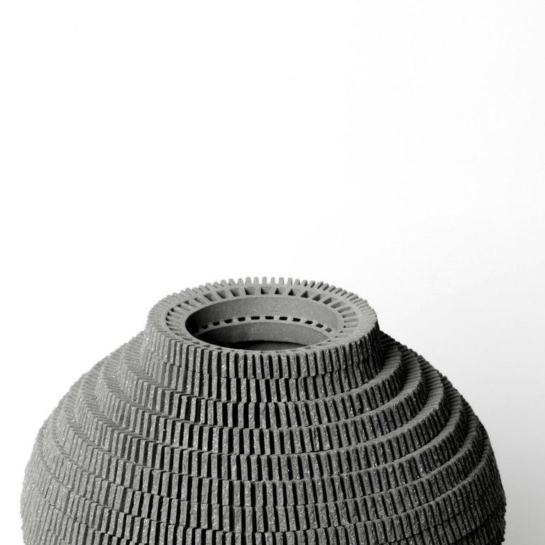 South Korean Contemporary Grey Ceramic Vessel by Bae Sejin For Sale
