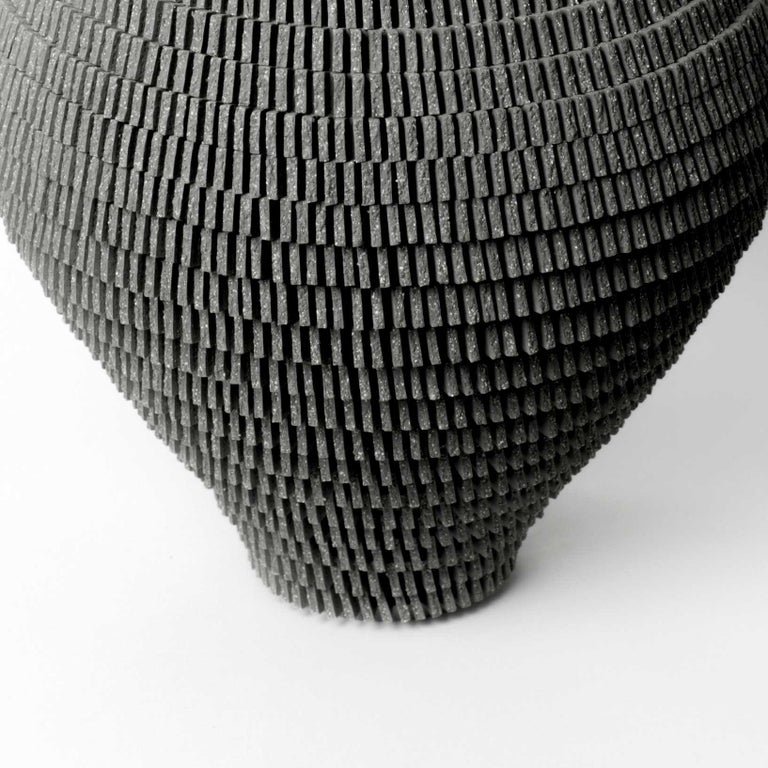 Hand-Crafted Contemporary Grey Ceramic Vessel by Bae Sejin For Sale