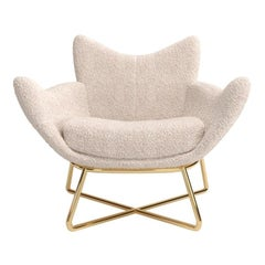 Contemporary Upholstered Armchair with Lacquered Metallic Base