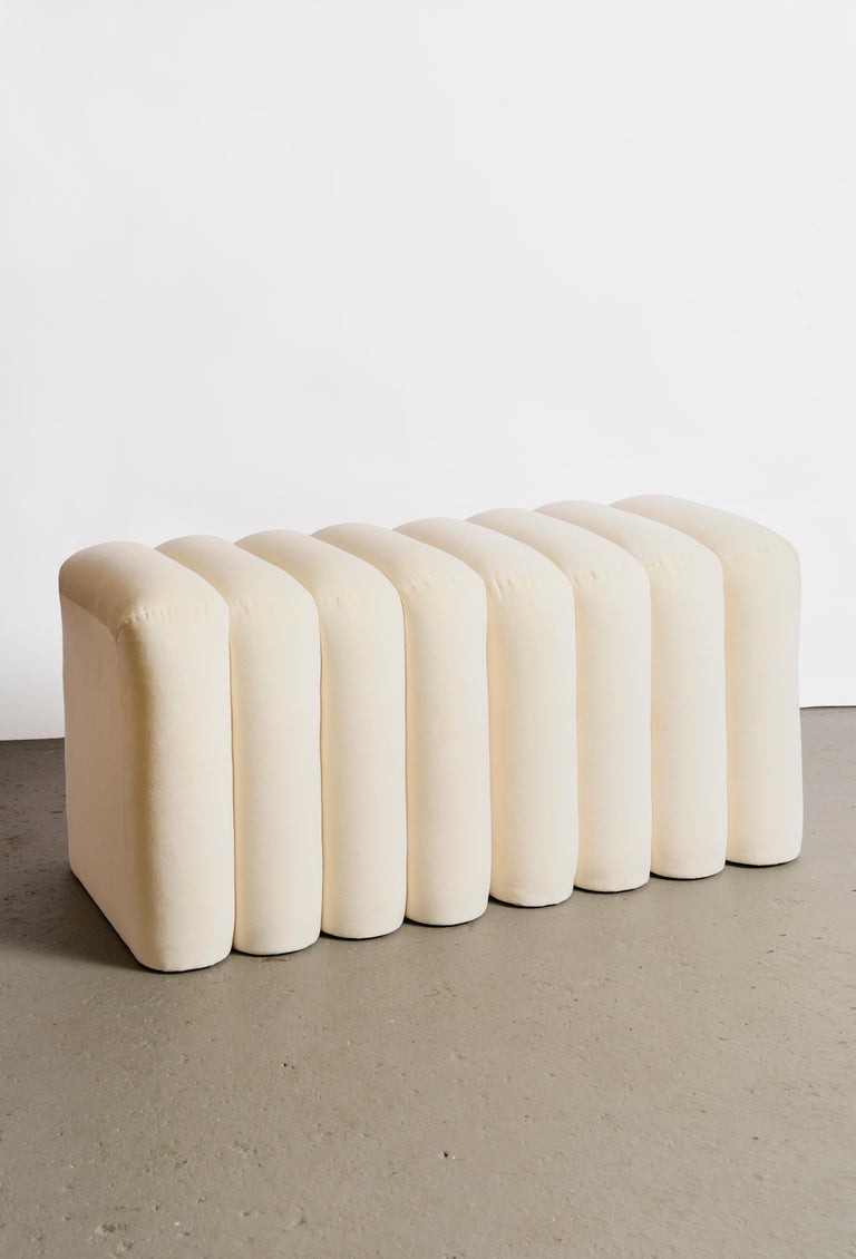 This rounded rectangular stool is made in Long Island City by a father-son duo, upholstered in Kravet 100% cotton velvet. Sold as a single stool (four panels, see first photo). COM orders upon request