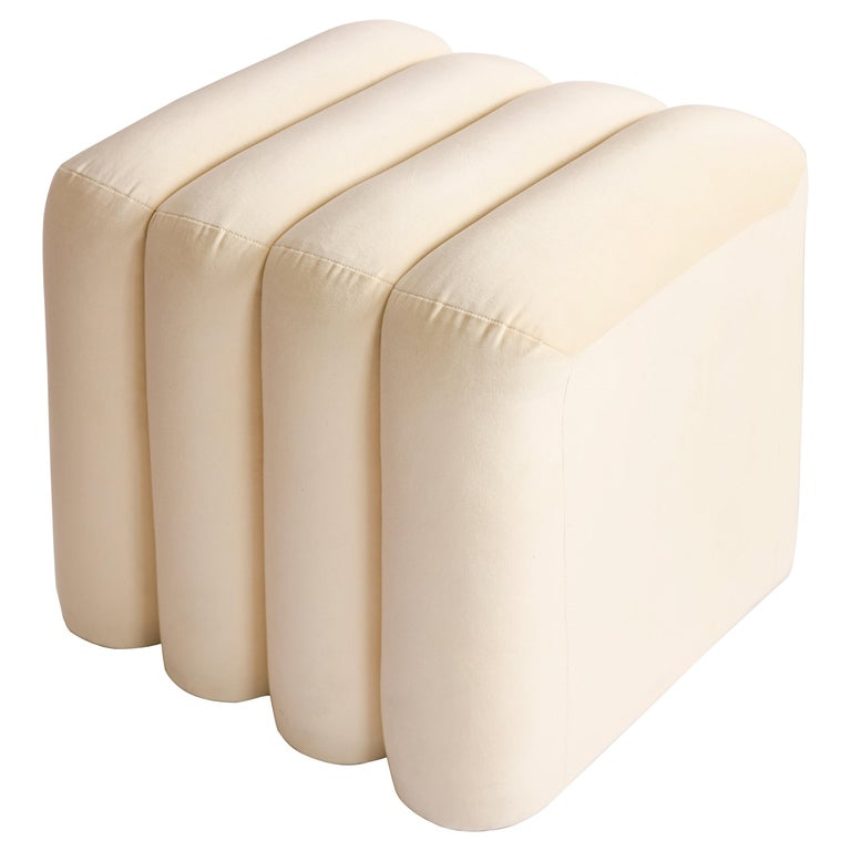 Contemporary Upholstered BB Stool For Sale