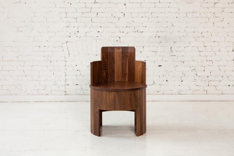 American Contemporary Upholstered Cooperage Chair in Walnut by Fort Standard, in Stock For Sale