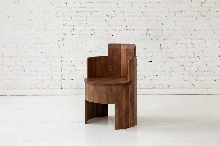 Hand-Crafted Contemporary Upholstered Cooperage Chair in Walnut by Fort Standard, in Stock For Sale