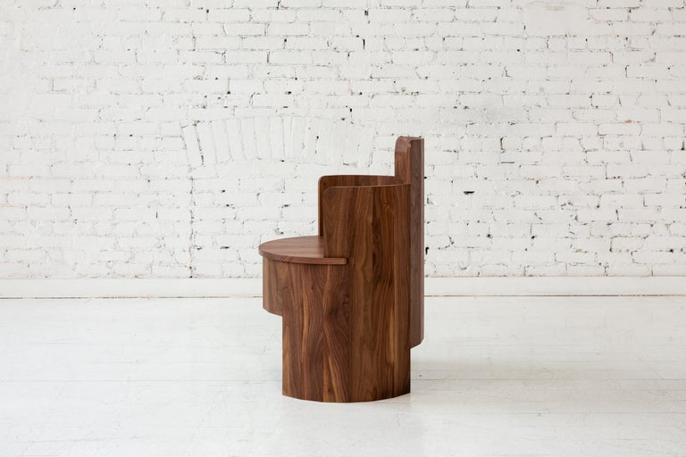 Contemporary Upholstered Cooperage Chair in Walnut by Fort Standard, in Stock In New Condition For Sale In Brooklyn, NY