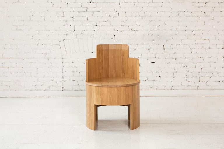 Contemporary Upholstered Cooperage Chair in Walnut by Fort Standard, in Stock For Sale 2