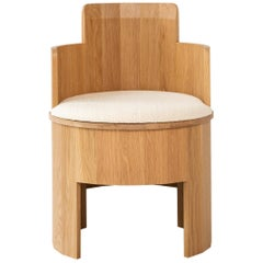 Contemporary Upholstered Cooperage Chair in White Oak by Fort Standard, in Stock