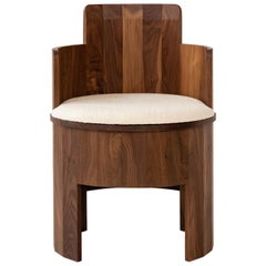 Contemporary Upholstered Cooperage Chair in Walnut by Fort Standard, in Stock