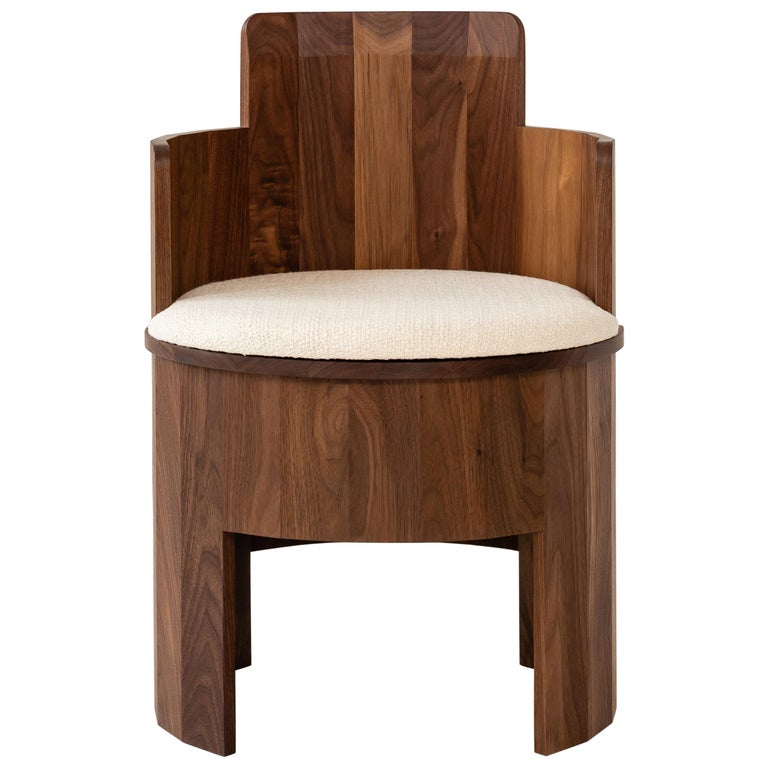 Contemporary Upholstered Cooperage Chair in Walnut by Fort Standard, in Stock For Sale