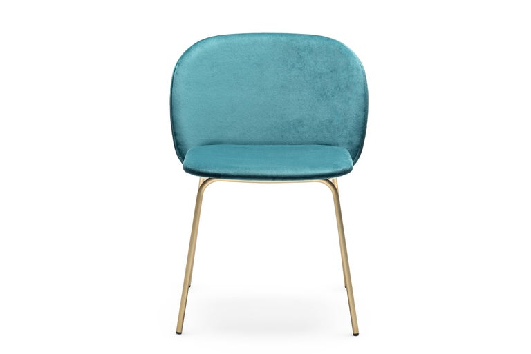 Modern Contemporary Upholstered Dining Chair Set, Base in Satin Brass For Sale
