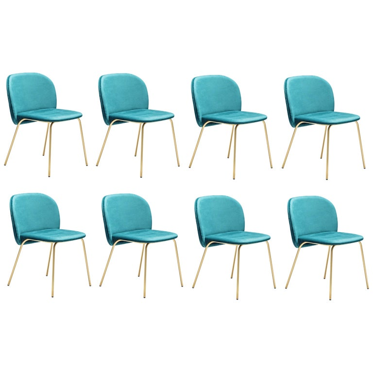 Contemporary Upholstered Dining Chair Set, Base in Satin Brass For Sale