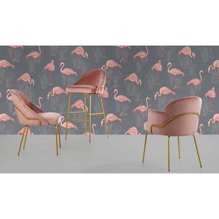 Modern Contemporary Upholstered Dining Chairs in Brass Coating For Sale
