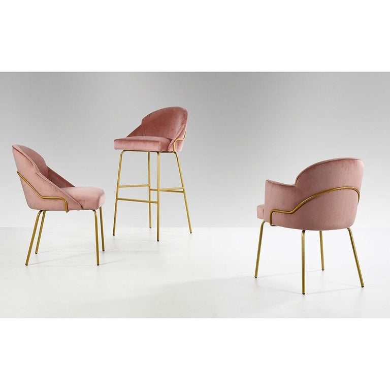 Italian Contemporary Upholstered Dining Chairs in Brass Coating For Sale