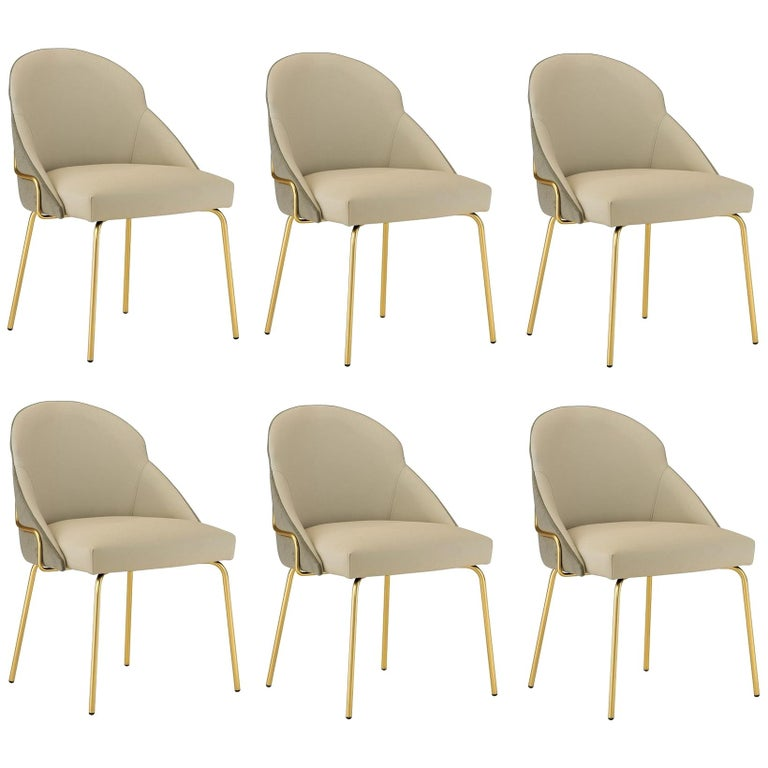 Contemporary Upholstered Dining Chairs in Brass Coating For Sale