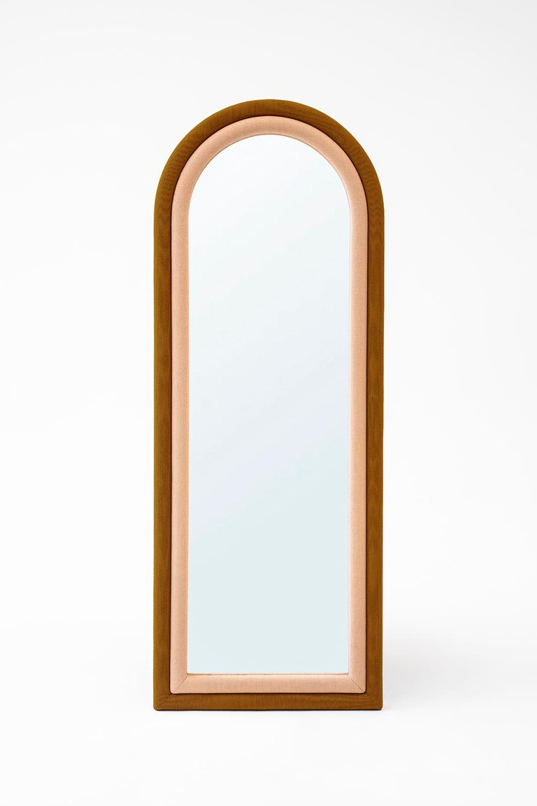 Contemporary Upholstered Iris Floor Mirror, Blue and Copper For Sale 4