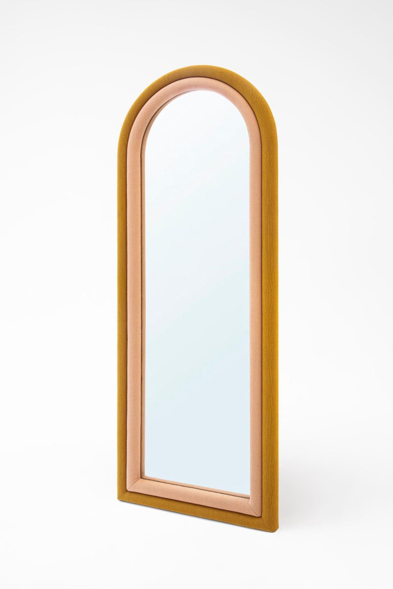 Arts and Crafts Contemporary Upholstered Iris Floor Mirror, Blue and Copper For Sale
