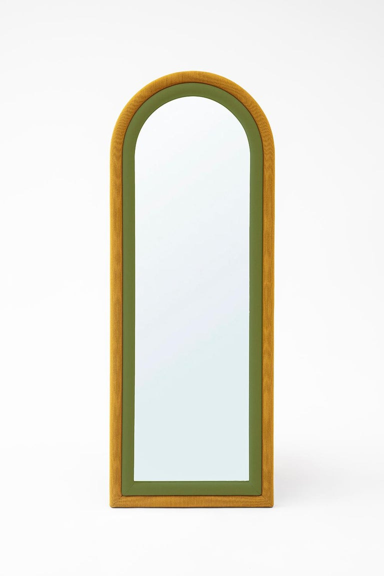 Contemporary Upholstered Iris Floor Mirror, Blue and Copper For Sale 2