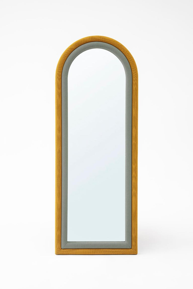 Contemporary Upholstered Iris Floor Mirror, Blue and Copper For Sale 3