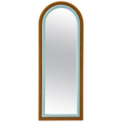 Contemporary Upholstered Iris Floor Mirror, Blue and Copper
